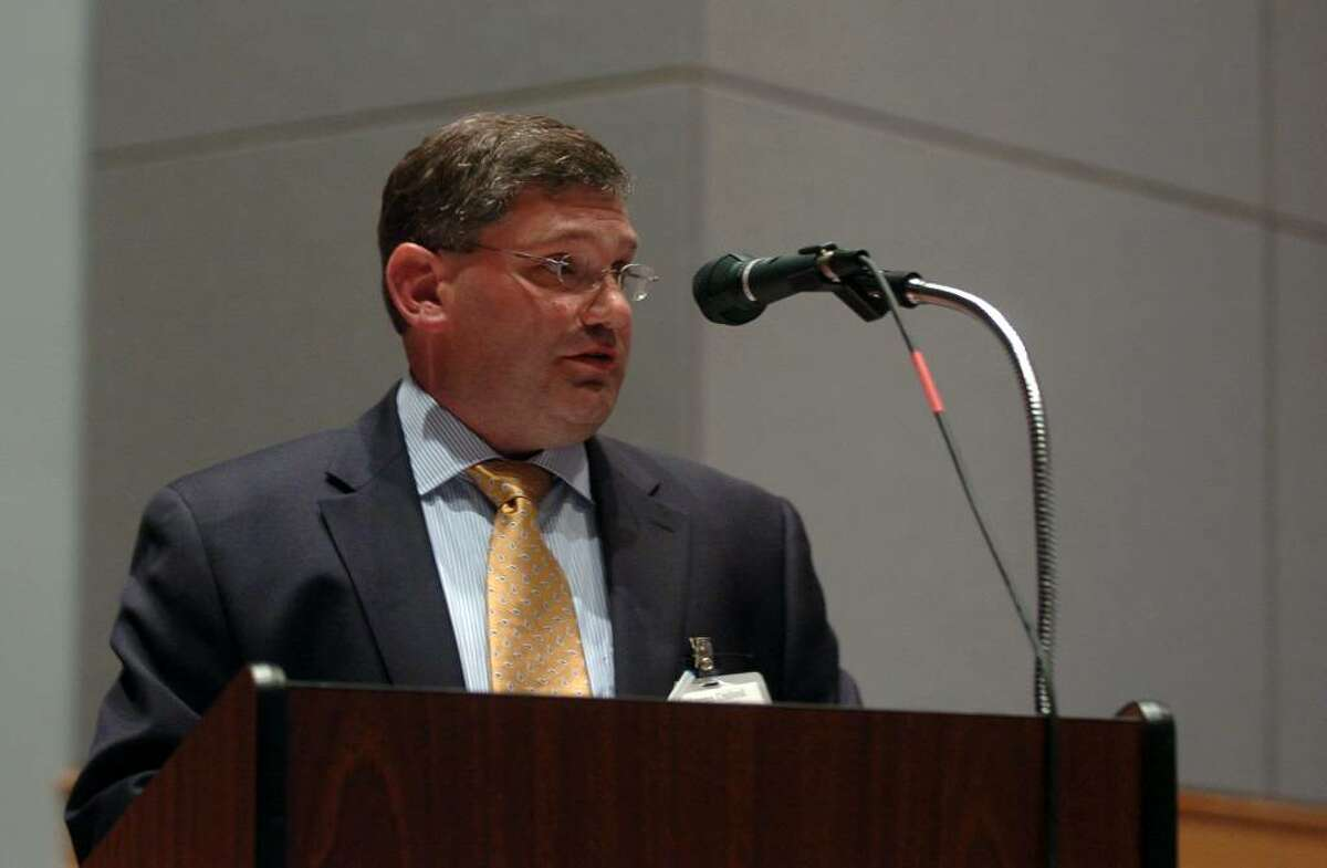 Mayoral candidate Mark Widomski gives his view on education at the Shelton Board of Education