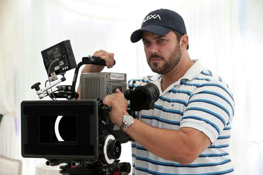 "Greenwich native Justin Zackham directing the upcoming comedy ""The Wedding"" in Greenwich recently. The film is produced by Riverside native Clay Pecorin and directed by Zackham, both Greenwich High School alums. Photo by Barry Wetcher Photo: Contributed Photo"