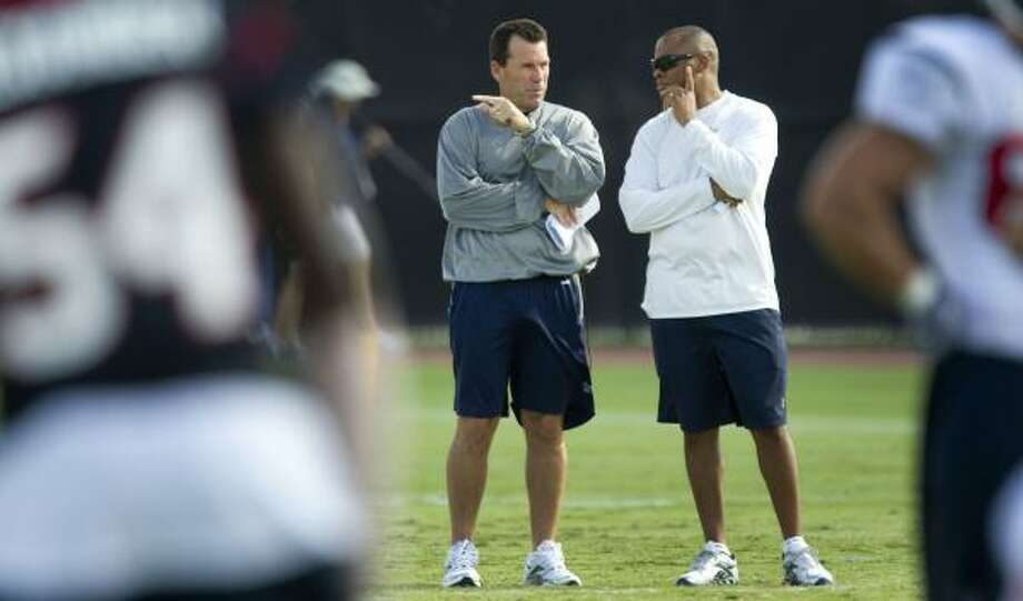 Texans head coach Gary Kubiak, left, and general manager Rick Smith have procured a lot of talent. Photo: Brett Coomer, Houston Chronicle