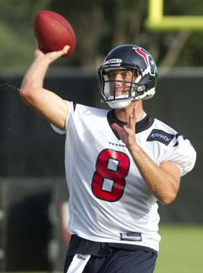 Texans quarterback Matt Schaub delivers a pass. Photo: Brett Coomer, Chronicle