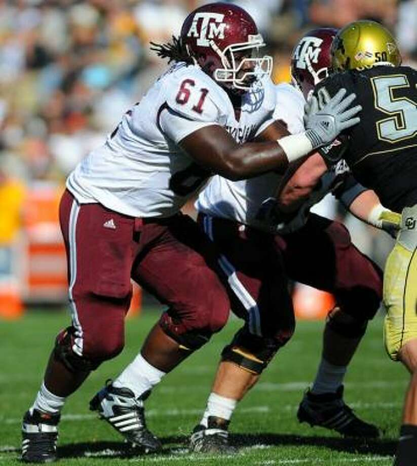 """Center of attentionThe Aggies are replacing last year's starting center, Matt Allen, with another starter from the offensive line: Patrick Lewis (pictured). He arrived at A&M two years ago as a touted center but has spent the last two seasons at guard. Coach Mike Sherman said at first Lewis """"wasn't too fired up"""" about the switch, but Sherman told him the move offered Lewis his best shot at the NFL. Count him as sold. Photo: Courtesy Of Icon SMI"""