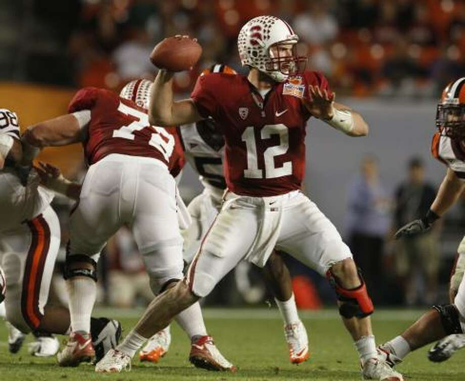 The favoriteAndrew LuckPosition: QuarterbackSchool: StanfordVitals: 6-4, 235, Sr.2010 statistics: 263-of-372 passing (70.7 percent), 3,338 yards, 32 TDs, 8 INTs. 453 rushing yards, 3 TDs2010 Heisman voting finish: SecondOutlook: Many are surprised the Stratford product is even back for this season, passing on the chance to be the No. 1 pick in this year's NFL draft. He's got size, arm strength and poise and is the main reason the Cardinal are ranked in the top 10 nationally entering this season. If he takes Stanford to a BCS bowl, it'd be hard to keep the trophy out of his hands. Photo: J Pat Carter, Associated Press