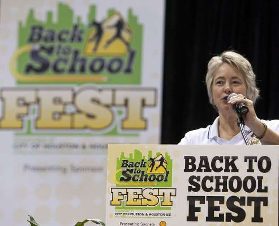 Houston Mayor Annise Parker speaks during the Back to School Fest at George R. Brown on Saturday. Photo: James Nielsen, Chronicle