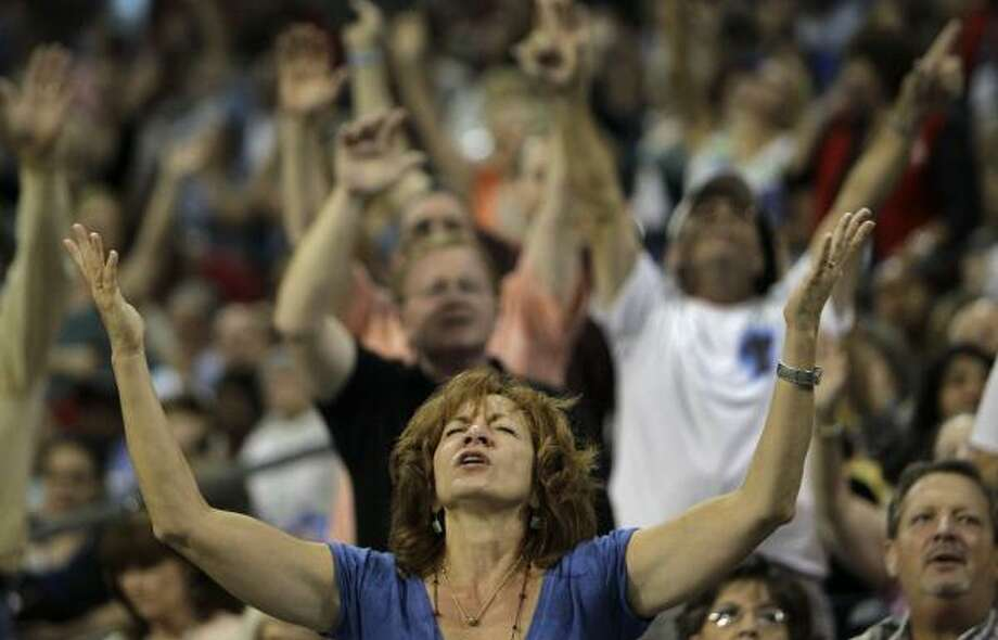 More prayers during the seven-hour rally. Photo: Melissa Phillip, Houston Chronicle
