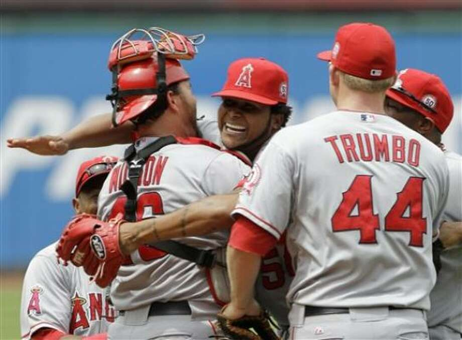 Los Angeles Angels starting pitcher Ervin Santana celebrates the final out of the game after tossing a no-hitter against the Cleveland Indians. Photo: Mark Duncan, AP