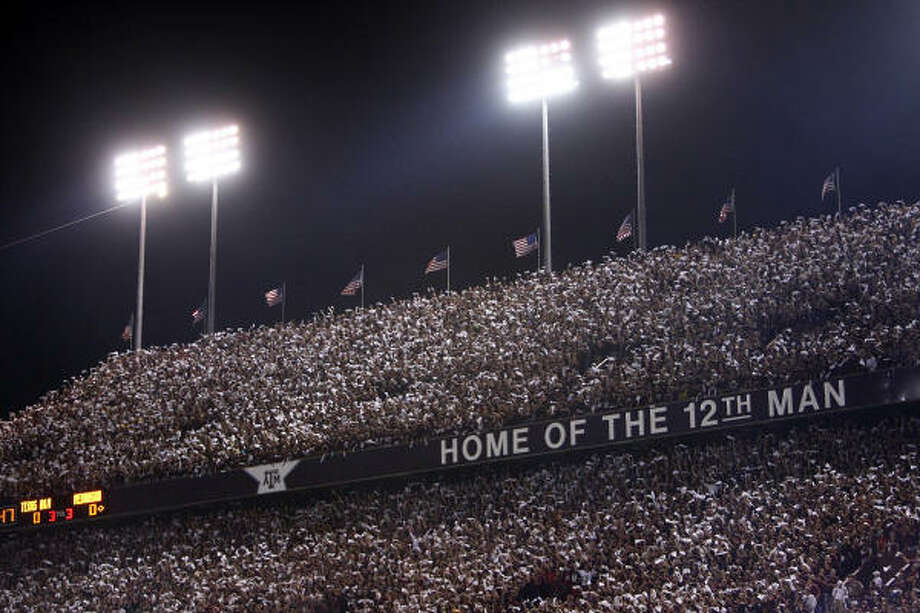 "Kyle Field, Texas A&M You'll never confuse the triple-decked home of the ""12th Man"" with any other place in college football. The unique yells and massive noise levels are all the Aggies' own, and when the fans lock arms and ""saw Varsity's horns' off,"" the press box sways as if it's experiencing an earthquake. Photo: TOM FOX/Staff Photographer"