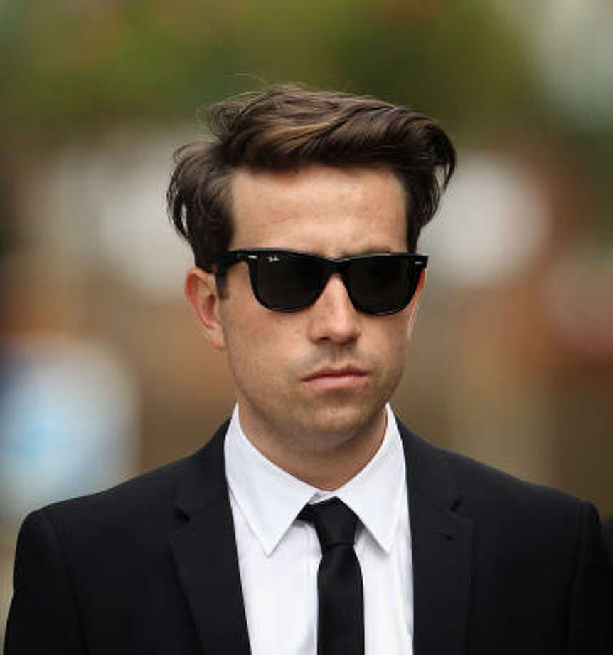 Nick Grimshaw attends the funeral service of singer Amy Winehouse at Edgwarebury Lane cemetery. Photo: Dan Kitwood, Getty