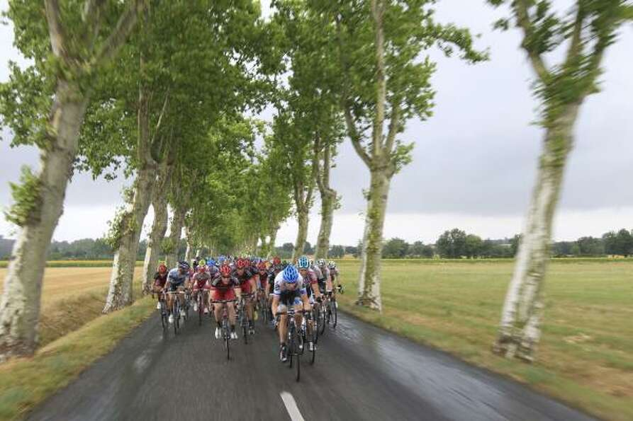 The pack rides during the 11th stage of the Tour de France.