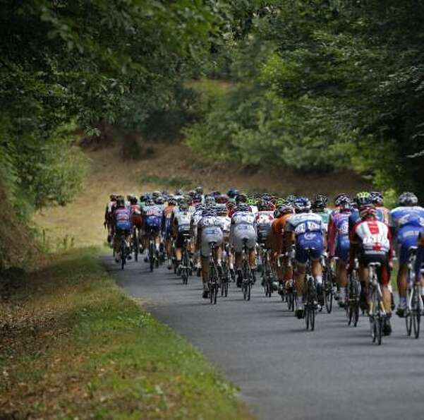The pack rides during the eighth stage of the Tour de France.