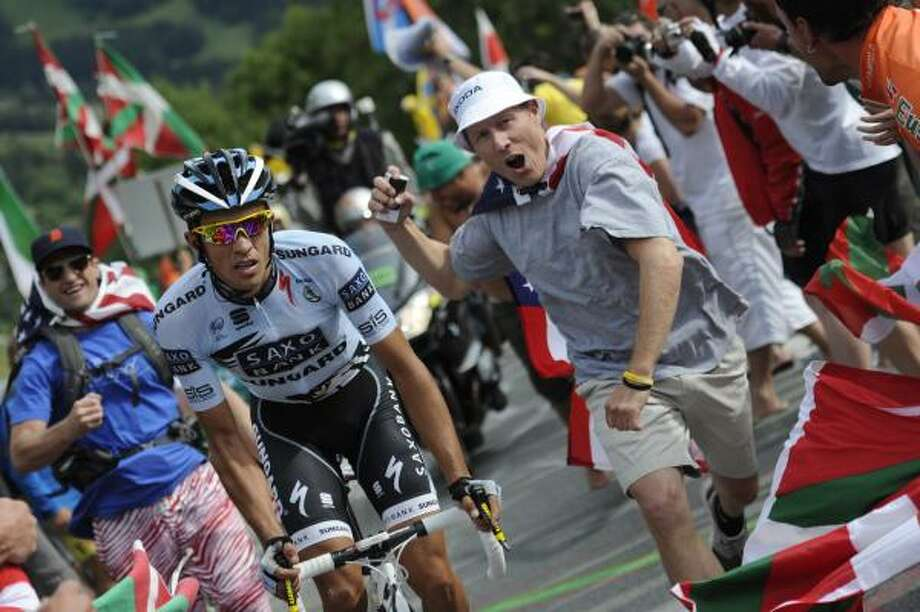 Three-time Tour de France winner Alberto Contador of Spain climbs Alpe d'Huez during the 19th stage of the Tour de France. Photo: Lionel Bonaventure, Associated Press