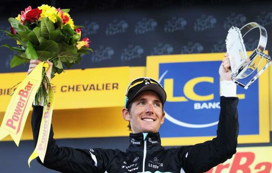 July 21    18th Stage  Andy Schleck of Luxembourg and Team Leopard-Trek celebrates winning the 18th stage of the 2011 Tour de France. Photo: Bryn Lennon, Getty