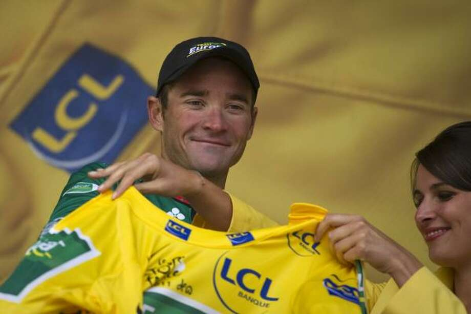 July 19    16th Stage  France's Thomas Voeckler, celebrates on the podium at the end of the 16th stage of the 2011 Tour de France. Photo: LIONEL BONAVENTURE, Getty