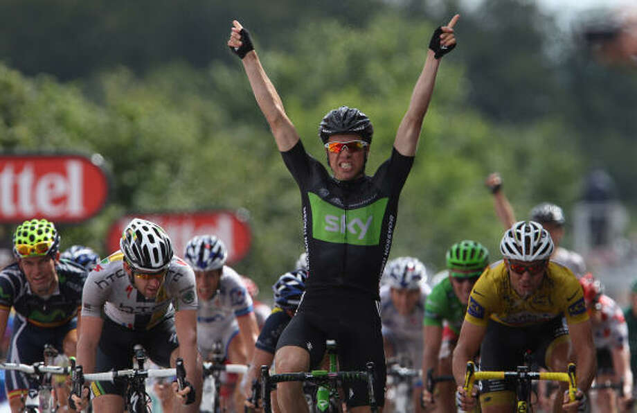 Edvald Boasson Hagen of Norway and the SKY Procycling team celebrates winning Stage 6 of the 2011 Tour de France. Photo: Michael Steele, Getty