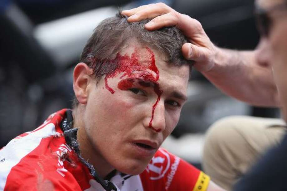 Janez Brajkovic of Slovakia and team Radioshack is dazed after a heavy fall during the fifth stage of the 2011 Tour de France. Photo: Michael Steele, Getty