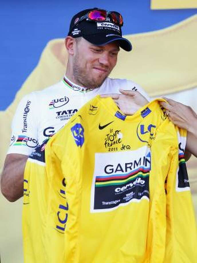 July 3Second StageThor Hushovd of Norway took the yellow jersey after his Garmin-Cervelo team won the stage two team time trial of the 2011 Tour de France. Photo: Bryn Lennon, Getty