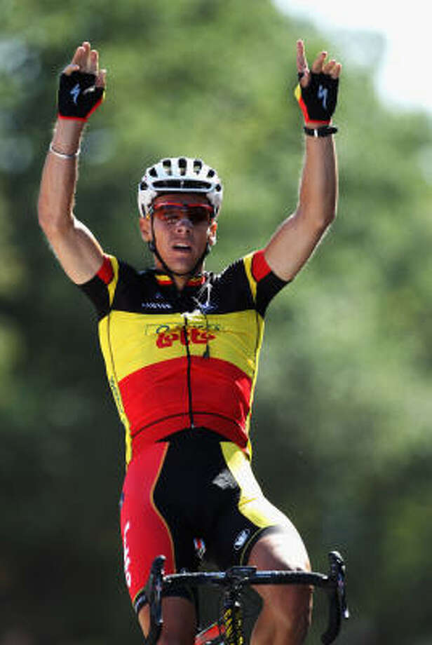 Philippe Gilbert of Belgium and Omega Pharma-Lotto celebrates winning stage one of the 2011 Tour de France. Photo: Michael Steele, Getty