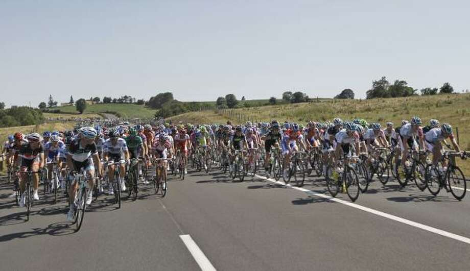 The pack is seen during the first stage of the Tour de France. Photo: Laurent Cipriani, Associated Press