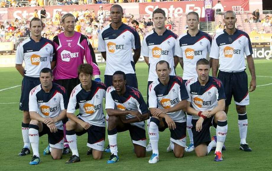 The Bolton Wanderers pose before the game against the Houston Dynamo at Robertson Stadium. Photo: Bob Levey, Getty