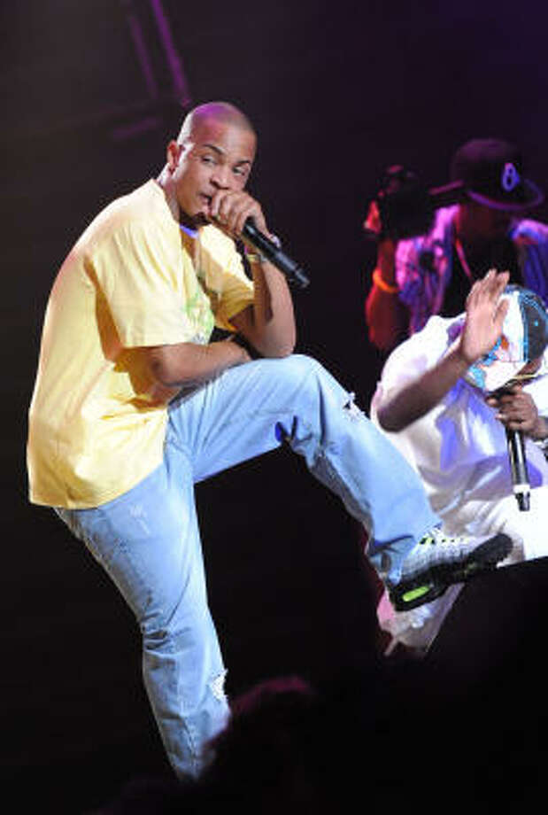 T.I. performs with Jeezy and Trinidad James at the Ayva Center, 9371 Richmond, on Feb. 17.  Photo: Rick Diamond, Getty Images