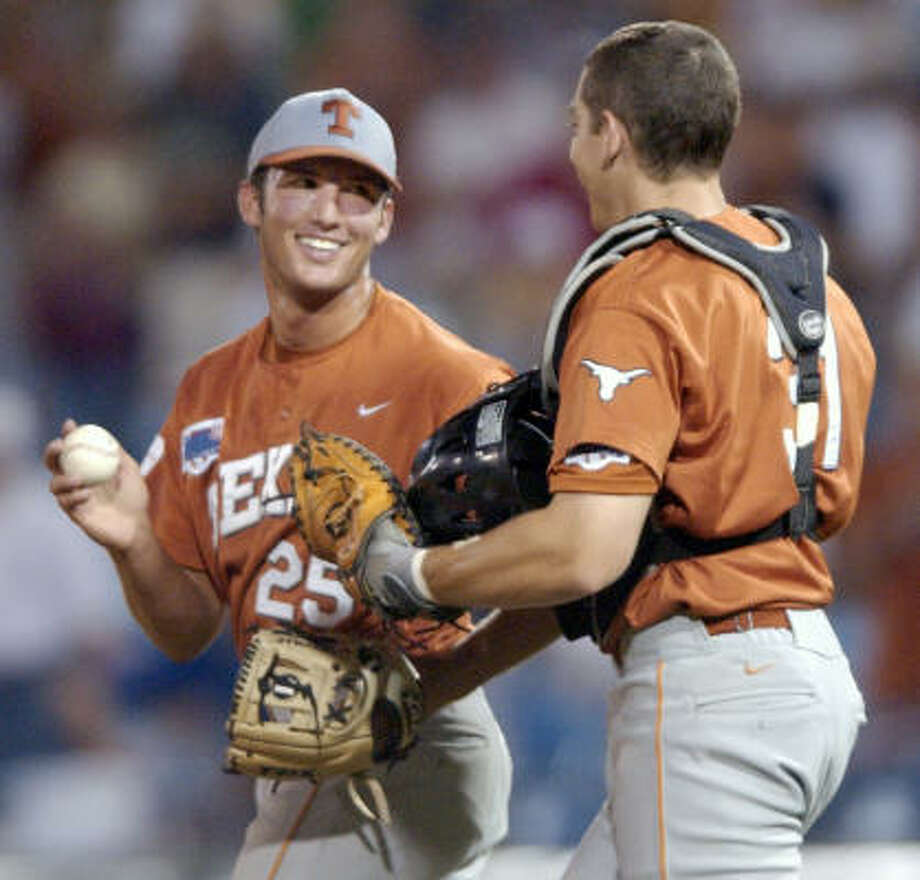 Huston Street Texas Street, left, earned CWS most outstanding player honors in 2002, culminating a season in which he earned four saves in four games in Omaha, a CWS record, in leading the Longhorns to the title. Street, one of the college game's all-time nice guys and son of one-time UT quarterback James Street, was drafted by Oakland in 2004 and within a year was pitching in the majors. Photo: DENNIS GRUNDMAN, AP