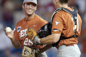 Huston Street     Texas   Street, left, earned CWS most outstanding player honors in 2002, culminating a season in which he earned four saves in four games in Omaha, a CWS record, in leading the Longhorns to the title. Street, one of the college game's all-time nice guys and son of one-time UT quarterback James Street, was drafted by Oakland in 2004 and within a year was pitching in the majors.