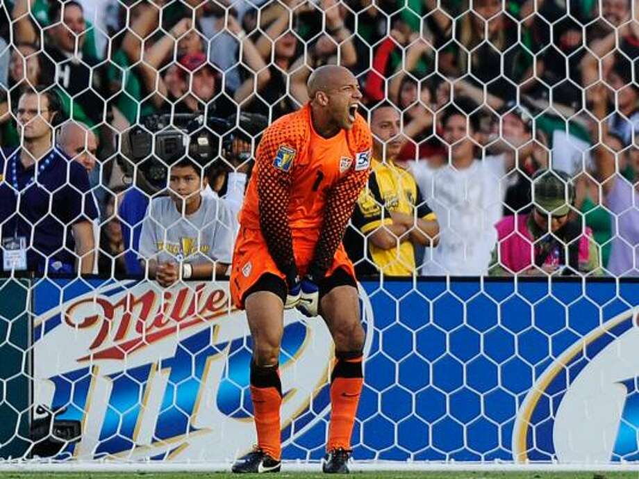 Goalkeeper: Tim Howard (U.S.)  Howard had a commanding presence and saved the U.S. on numerous occasions. The questionable defense made his job even tougher. Despite the lack of defense he helped his team reach the final for the 4th consecutive time.   Notable Mention Alfredo Talavera (Mex), Donovan Rickets (Jam) Photo: Kevork Djansezian, Getty
