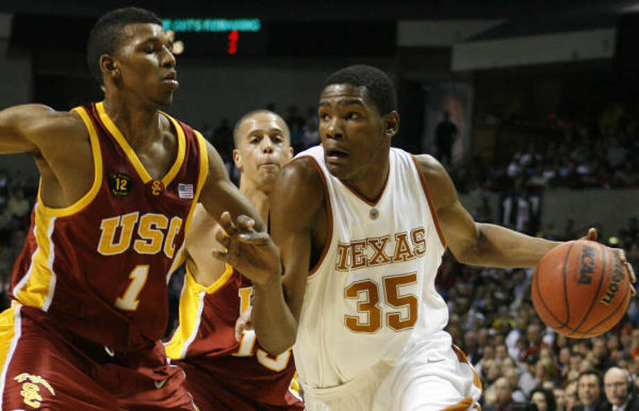 Kevin DurantTexasThe first freshman to win the Wooden Award as the nation's top player, Durant had no shortage of achievements in 2006-07. He also was a consensus first-team All-American, the Big 12 player of the year and averaged a record 28.9 points in league play. Photo: James Nielsen, Chronicle