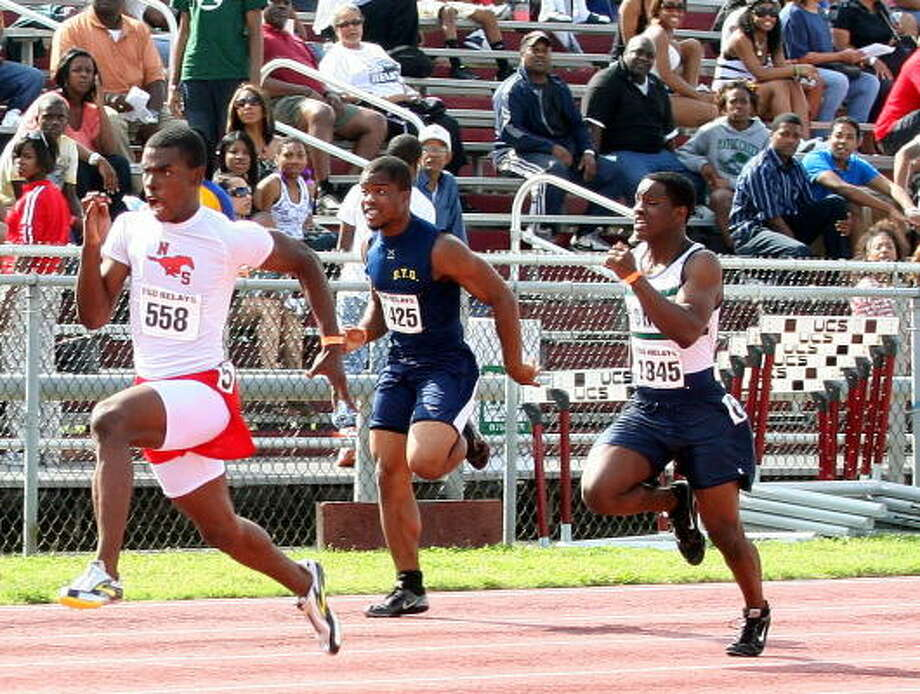 Boys track and field MVP: Jaylon Hicks, North ShoreHicks, left, was the star of the state track meet last month when he blew past sprinters in the 100-meter hurdles with a time of 10.15. He was also on the first-place 800 relay unit that helped the Mustangs win the Class 5A team championship for the second straight year. Recruited by several of the nation's top track programs, Hicks shocked the track world when he chose to attend The Academy of Art University in San Francisco. He will run track there while pursuing his dream to work in animation someday. Photo: Gerald James, For The Chronicle