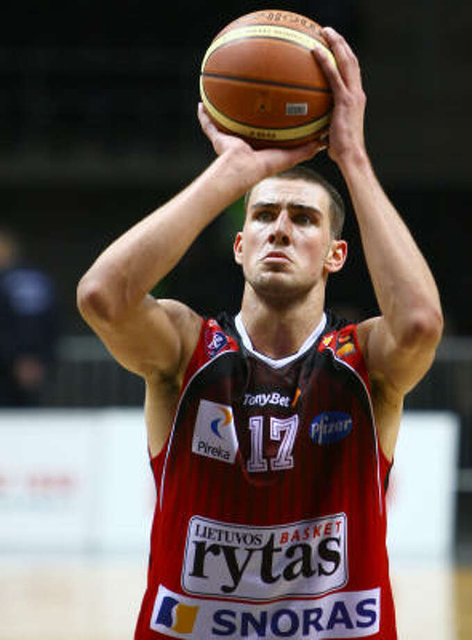 "Jonas Valanciunas, C, 6-11, Lietuvos Rytas ""Up and coming international center. Strong defensive potential as shot blocker and rebounder. Developing offensive game."" Photo: Mindaugas Kulbis, Associated Press"