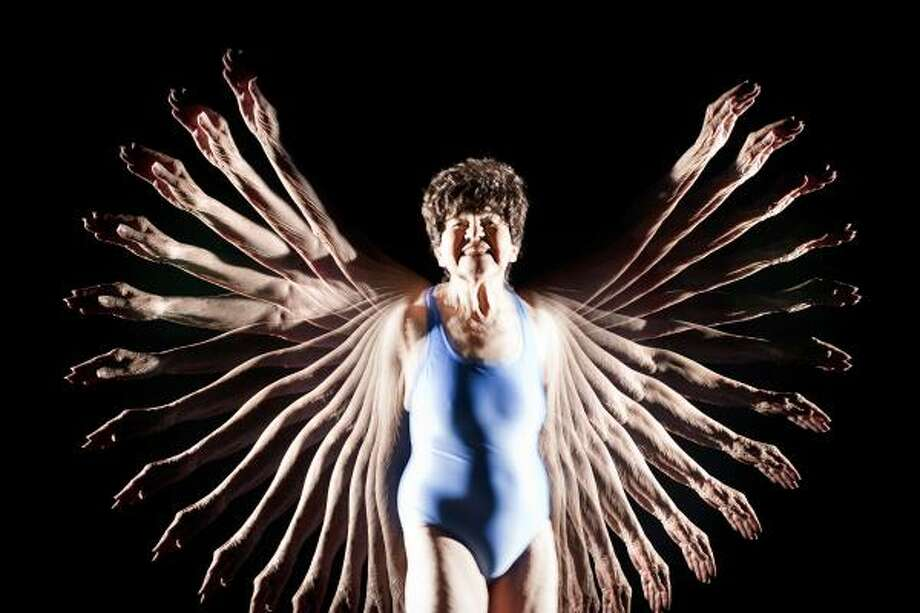 Eighty-eight year-old, Annette Schwartz, will compete in the 100 Backstroke, 200 Backstroke and 500 Freestyle swimming events in the 2011 National Senior Games in Houston.  Schwartz is photographed using a stroboscopic technique where the subject is in total darkness and lit by multiple high-speed flashes. Photo: Michael Paulsen, Houston Chronicle