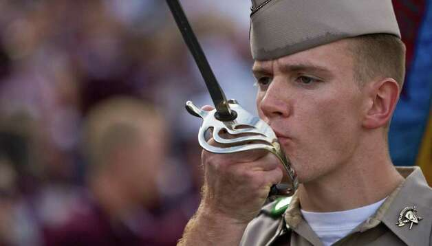 The Texas A&M's Corps of Cadets present flags before Texas A&M's game against Utah State Saturday, Sept. 19, 2008, in Kyle Field in College Station. Photo: Nick De La Torre, Staff / Houston Chronicle