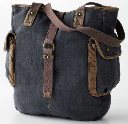 A denim cargo tote does double duty as a book bag from Mudd at Kohl's. Photo: Courtesy Photo/Kohl's / Kohl's Department Store