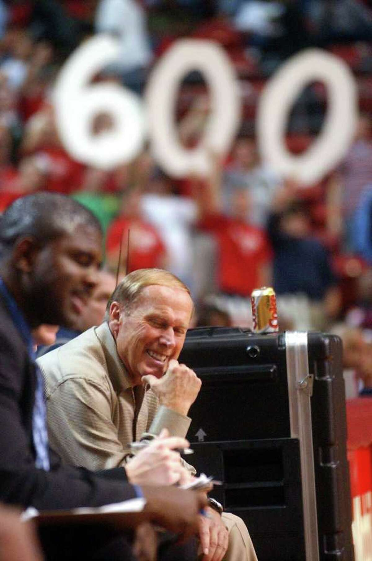 Lamar coach Billy Tubbs is all smiles as he notched his 600th win with a victory over Texas Southern 79-67at Lamars Montagne Center. Eckert/photo