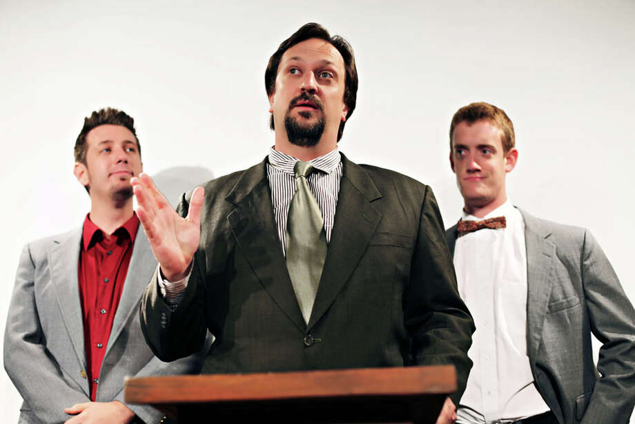 "Matthew Halterman (center) plays a presidential candidate guided by a couple of consultants, Jared Thompson (left), and Dru Barcus, in the oVertime Theater's ""Ugly People."" COURTESY NIKI AGUIRRE / www.danianichole.com"