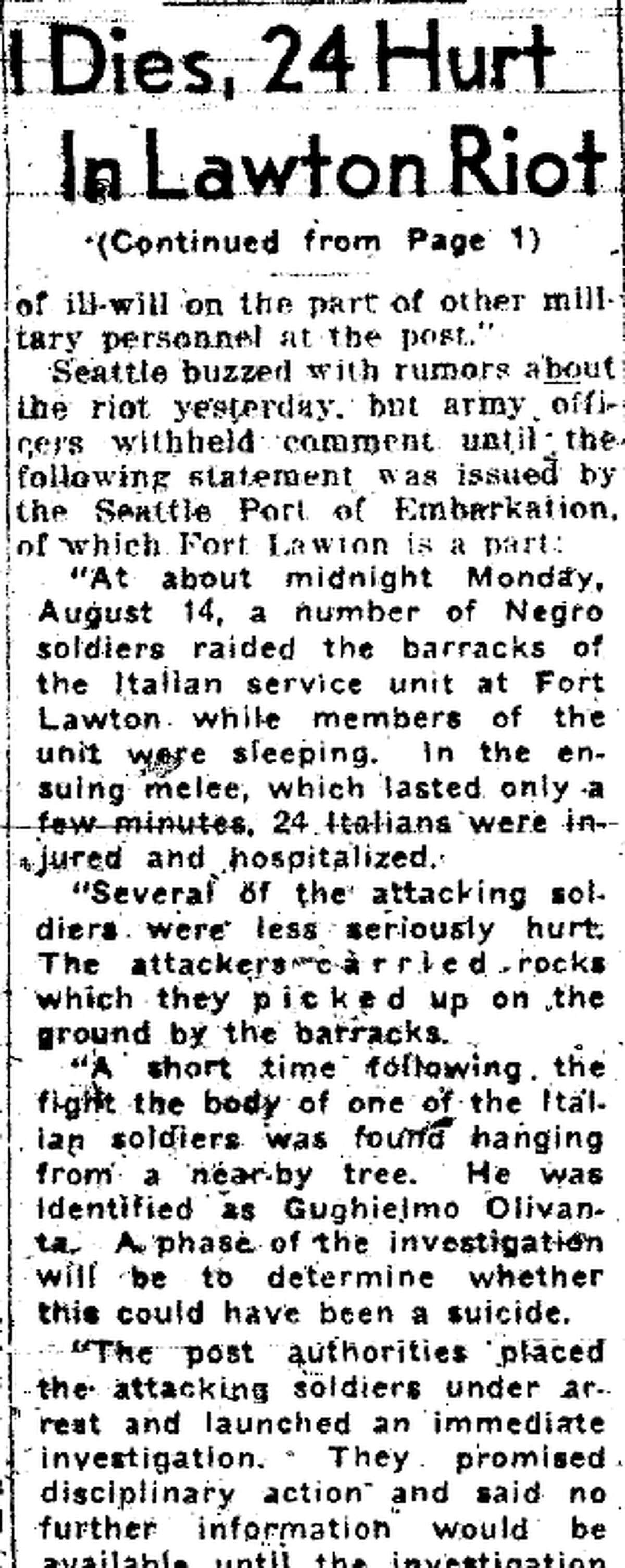The Aug. 16, 1944 P-I story about the Fort Lawton riot.