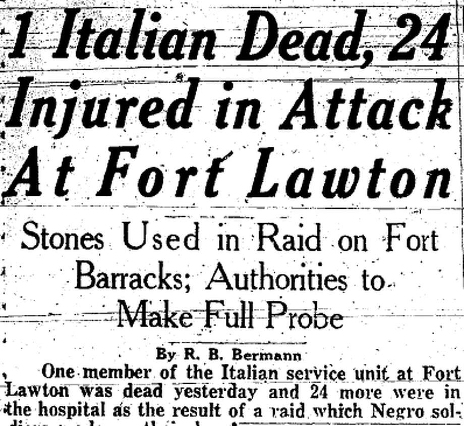 The Aug. 16, 1944 P-I story about the Fort Lawton riot. Photo: Seattlepi.com File