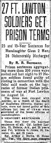 The Dec. 14, 1944 P-I story about the prison terms for the Fort Lawton soldiers. Photo: Seattlepi.com File