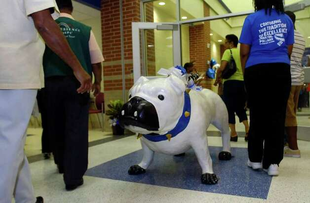 "The school mascot is ""Brutus"" and he will sit in the lobby of the new school. Thursday was the grand opening of the Beaumont Independent School District's new school, Charlton-Pollard Elementary, which replaces Dunbar and Ogden elementary schools.  Dave Ryan/The Enterprise Photo: Dave Ryan"
