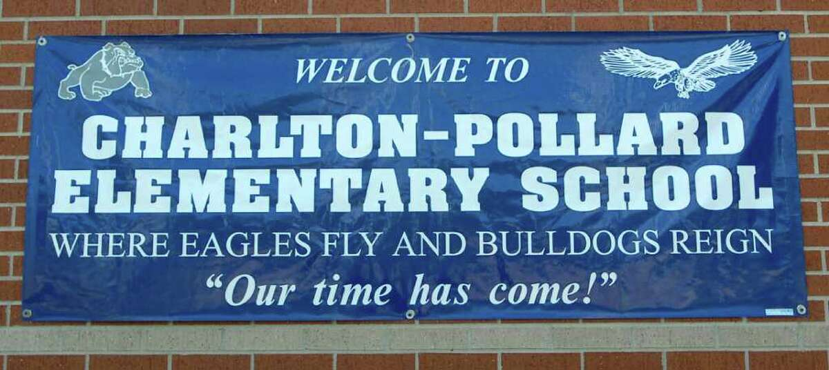 Thursday was the grand opening of the Beaumont Independent School District's new school, Charlton-Pollard Elementary, which replaces Dunbar and Ogden elementary schools. This banner, hanging on the side of the school, greeted guests. Dave Ryan/The Enterprise