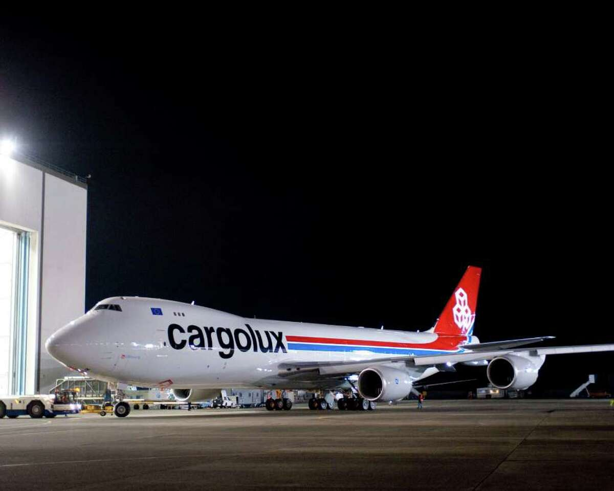 Boeing rolls out a 747-8 Freighter painted in the livery of launch customer Cargolux on June 07, 2010.