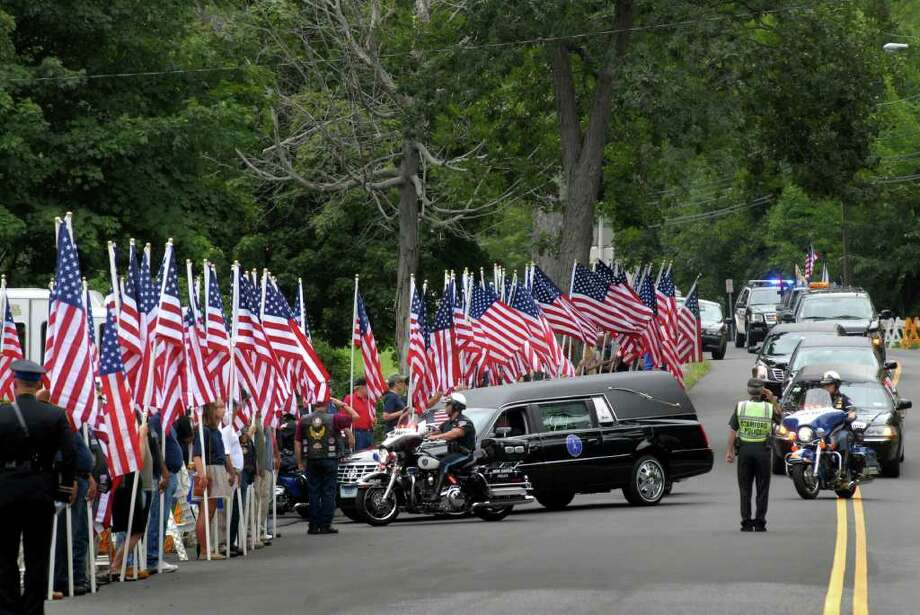 The funeral of Chief Petty Officer Brian Bill, 31, a Navy SEAL from Stamford, at St. Cecilia Church in Stamford, Conn. on Friday August 19. 2011. Photo: Dru Nadler / Stamford Advocate Freelance