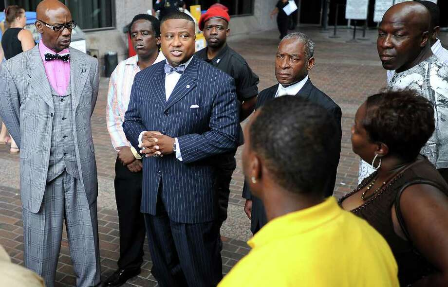 New Black Panther Houston Chapter leader, Quanell X speaks out against 252nd Criminal District Judge Layne Walker for giving unfair sentences to black defendants in comparison to defendants of other races at the Jefferson County Courthouse in Beaumont, Friday. Tammy McKinley/The Enterprise Photo: TAMMY MCKINLEY