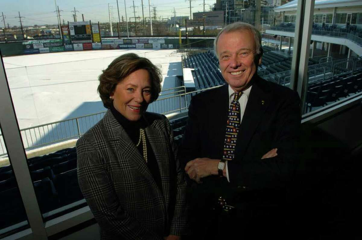 Mary-Jane Foster and Jack McGregor, new owners of the Bridgeport Bluefish, at Harbor Yard in Bridgeport, Dec. 7th, 2005.