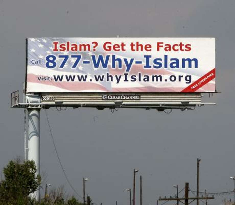 A billboard advertises a hotline that encourages people to call in and ask Muslims questions about Islam. Photo: The Star Ledger