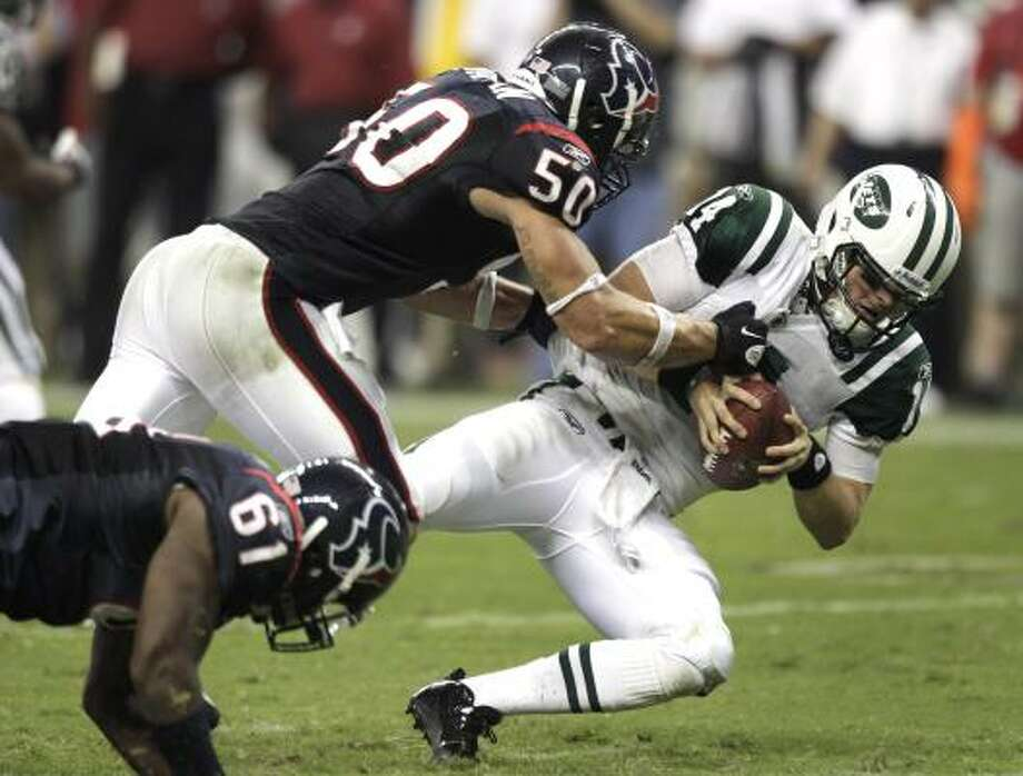 Texans linebacker Bryan Braman, a West Texas A&M alumnus, stood out Monday, finishing with four tackles, including 1.5 sacks. Photo: Brett Coomer, Chronicle