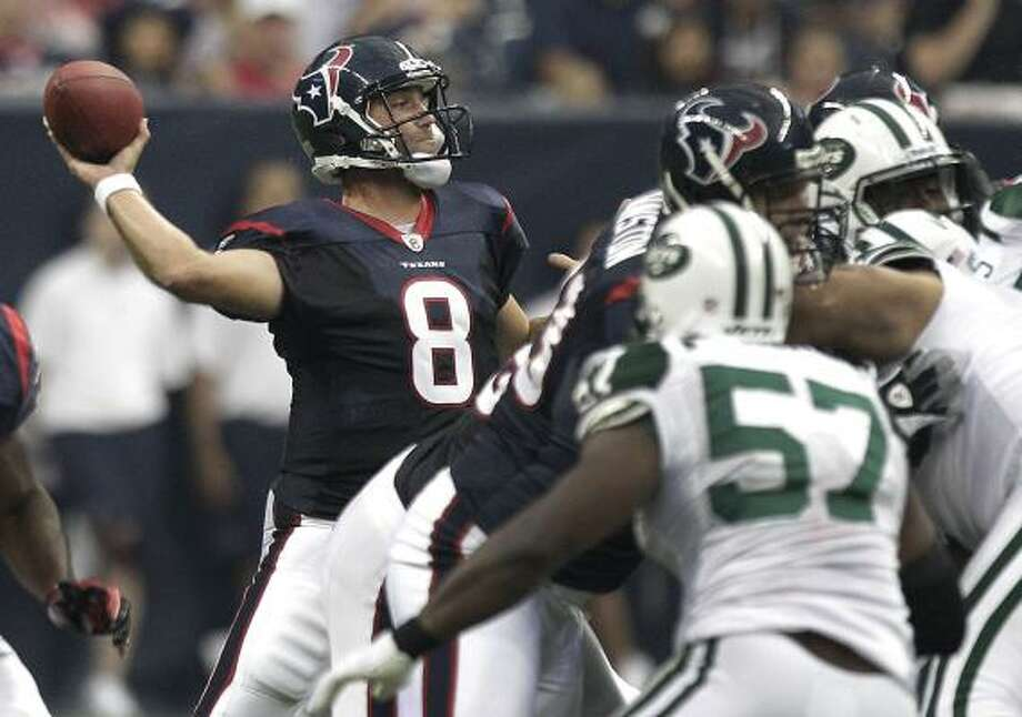 Matt Schaub's 2-for-5 performance was no cause for concern. Photo: Brett Coomer, Chronicle