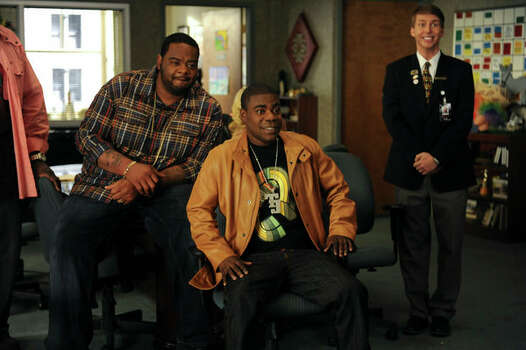 "30 ROCK -- ""Everything Sunny All The Time Always"" Episode 522 -- Pictured: (l-r) Grizz Chapman as Grizz, Tracy Morgan as Tracy Jordan, Jack McBrayer as Kenneth Parcell (Ali Goldstein / NBC) Photo: Ali Goldstein, AP Photo / © NBCUniversal, Inc."