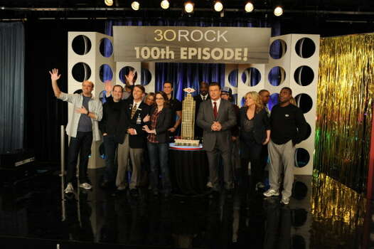 30 ROCK -- 100th Episode Event -- Pictured: (l-r) Scott Adsit as Pete Hornberger, John Lutz as J.D. Lutz, Grizz Chapman as Grizz, Jack McBrayer as Kenneth Parcell, Katrina Bowden as Cerie, Tina Fey as Liz Lemon Cheyenne Jackson as Danny Baker, Kevin Brown as Dot Com, Alec Baldwin as Jack Donaghy, Judah Friedlander as Frank Rossitano, Jane Krakowski as Jenna Maroney, Keith Powell as Toofer, Tracy Morgan as Tracy Jordan (Ali Goldstein / NBC) Photo: Ali Goldstein, AP Photo / © NBCUniversal, Inc.