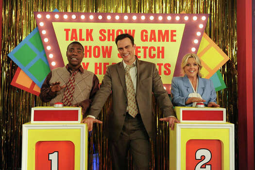 "30 ROCK -- ""100"" Episode 520/521 -- Pictured: (l-r) Tracy Morgan as Tracy Jordan, Cheyenne Jackson as Danny Baker, Jane Krakowski as Jenna Maroney (Ali Goldstein / NBC) Photo: Ali Goldstein, AP Photo / © NBCUniversal, Inc."