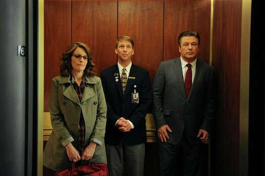 "30 ROCK -- ""100"" Episode 520/521 -- Pictured: (l-r) Tina Fey as Liz Lemon, Jack McBrayer as Kenneth Parcell, Alec Baldwin as Jack Donaghy (Ali Goldstein / NBC) Photo: Ali Goldstein, AP Photo / ©NBCUniversal, Inc."